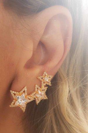 Brinco earcuff 3 estrelas OURO semijoia