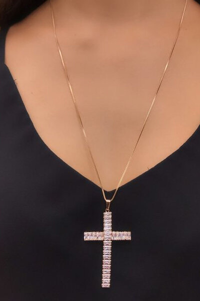 Colar Cruz Maleável ouro Semijoia