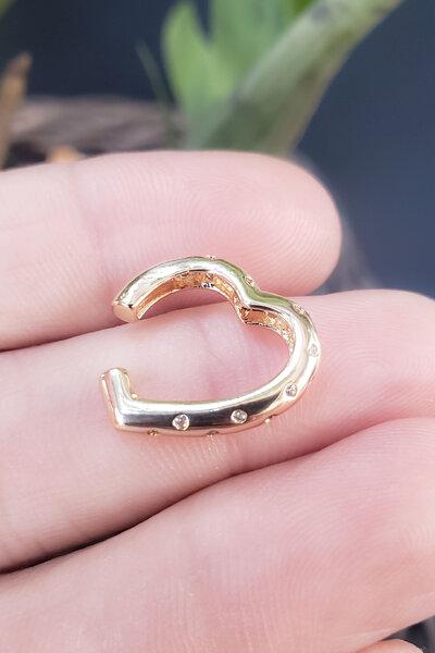 Falso Piercing Heart cravejado ouro (UNIDADE)