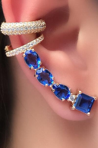 Brinco earcuff blue com piercing ouro semijoias