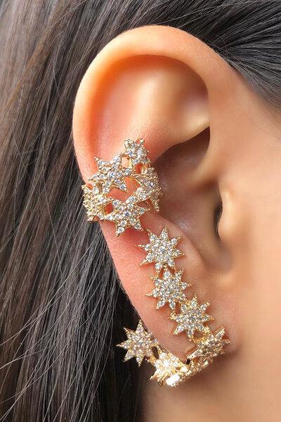 Falso piercing Estrelas ouro semijoias