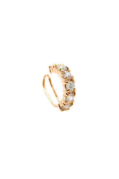 Falso Piercing Dourado com Cristal