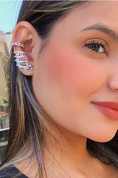 Brinco Earcuff Colors rodio semijoia