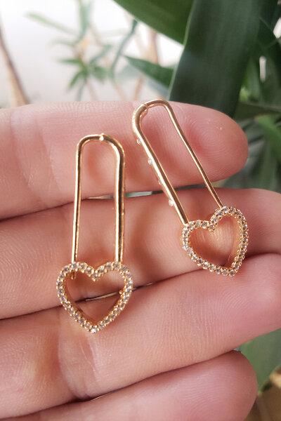 Brinco clip coração cristal ouro semijoia