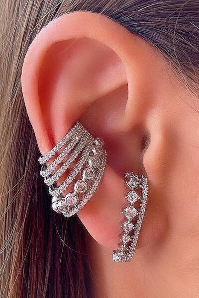 Brinco earhook Versailles cristal rodio semijoia