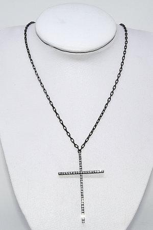 Colar Crucifixo em Zircônias