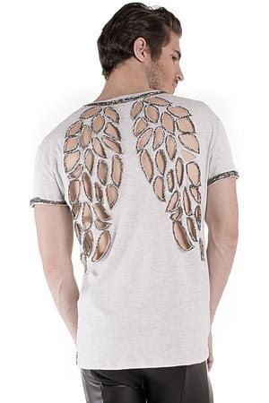 T Shirt Wings Silver Bordada