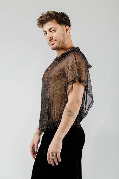 Blusão em Tricot de Poliamida com Lurex