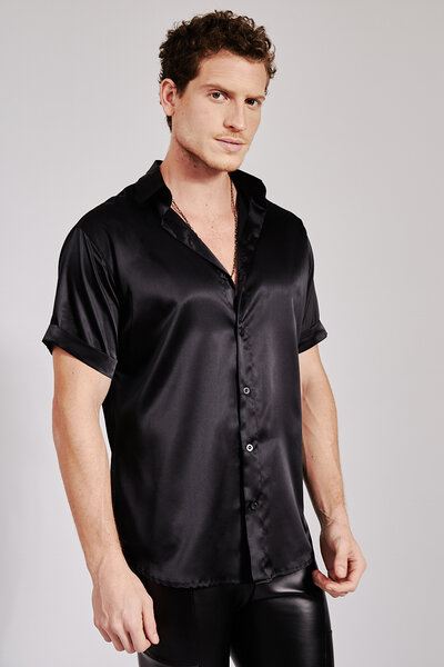 Camisa Manga Curta Essencial em Cetim com Elastano