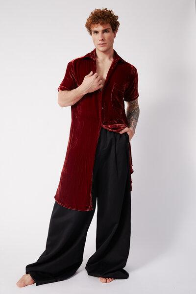Camisa Longa de Mangas Curtas em Veludo de Seda