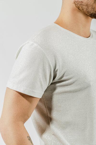 Camiseta Básica em Tricot com Lurex