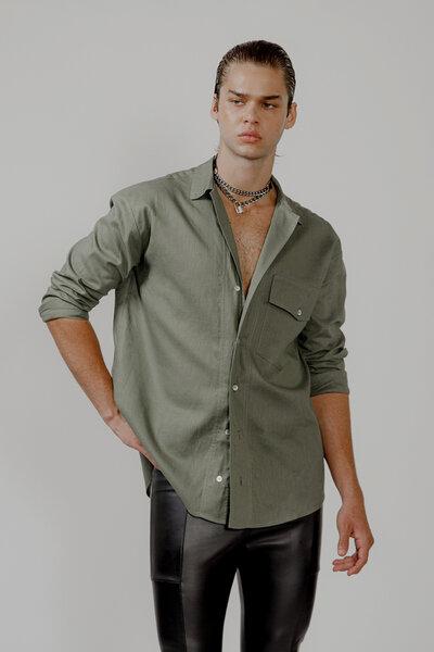 Camisa Utilitária em Linho com Algodão