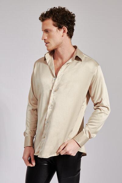 Camisa Manga Longa em Cetim com Elastano