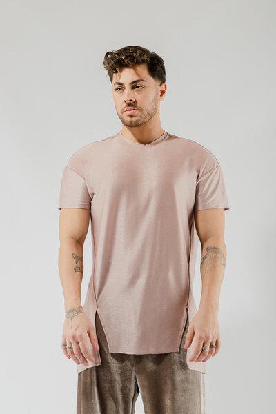 Camiseta Básica Long Acetinada Rosê