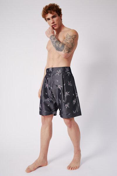 Shorts em Chambray Florido