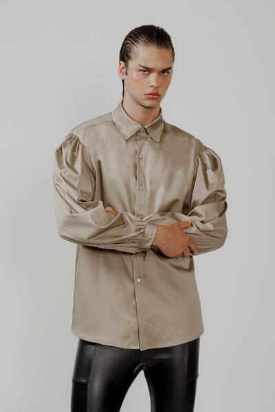 Camisa Manga Bufante Bege