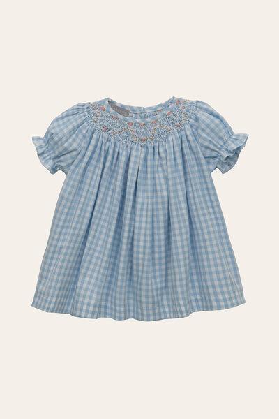 Vestido Isabela Vichy Branco Azul