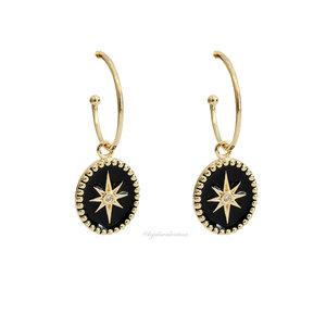 Argola Esmaltada Estrela Black Ouro