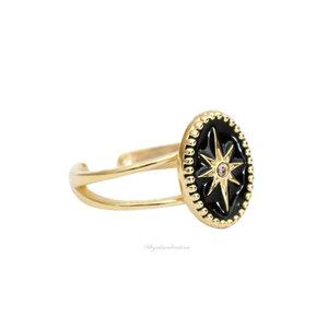 Anel Esmaltado Estrela Black