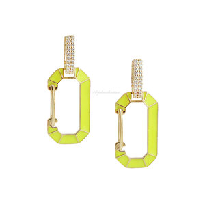Brinco Trend Locker Chanfrado Neon - Ouro