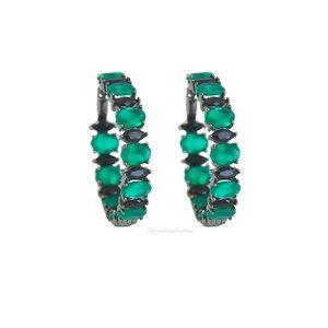Argola Negra Pedras Luxo Esmeralda Fusion