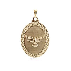 Pingente Medalha Ouro Oval Espirito Santo Grd.