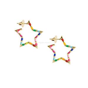 Brinco Estrela Rainbow Esmaltada