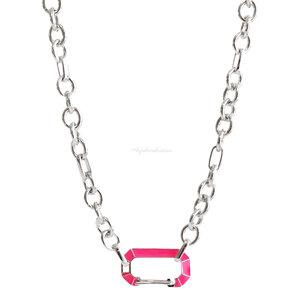 Colar Elos Locker Chanfrado Pink Neon - Ródio