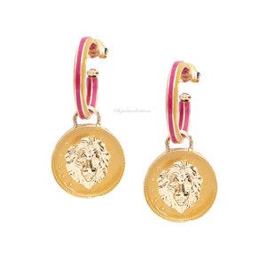Brinco Argola Medalha Esmaltada Lion - Amarela