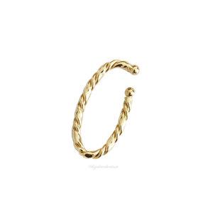 Piercing Ear Hook Fake Torcido Ouro - UNITÁRIOS