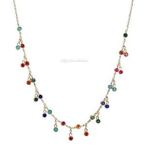 Choker Prata 925 Tiffany Ouro Rainbow