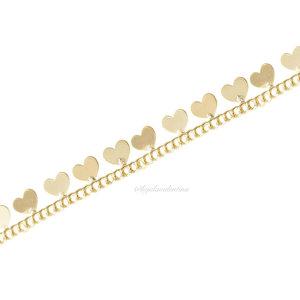 Pulseira Chain Corações Ouro