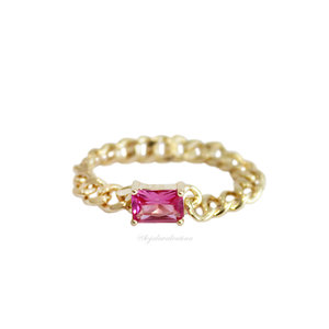 Anel PRATA 925 Chain Baguete Pink Ouro