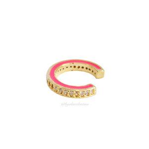 Piercing Fake Slim Esmaltado Pink - Ouro(Unitário)
