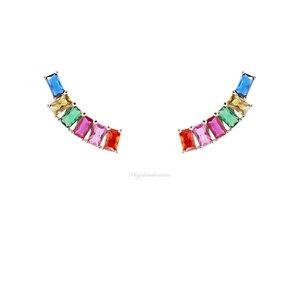 Brinco Ear Cuff PRATA 925 Baguetes Rainbow