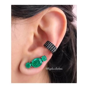Brinco Ear Cuff Negro Oval Esmeralda Fusion