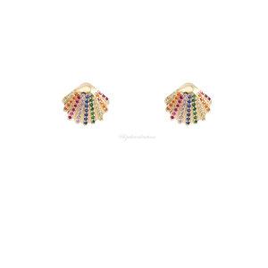 Brinco Prata 925 Summer Concha Rainbow Ouro