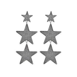 Brinco Trio Estrelas Glitter - Prata