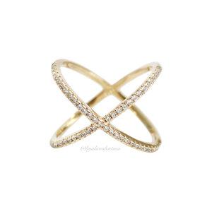 Anel X Prata 925 Cravejado Ouro