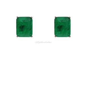 Brinco Retângulo Esmeralda Fusion G