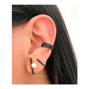 Brinco Ear Hook Prata Cravejado Pérola Negro