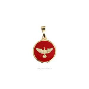 Pingente Medalha Ouro Peq. Espirito Santo Esmaltado Vermelho