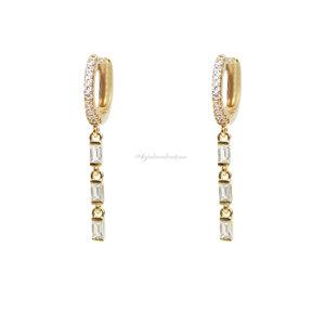 Argolinha Prata 925 Trend Slim Baguetes Ouro