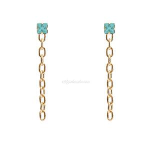 Brinco Chain Slim Cristal Azul