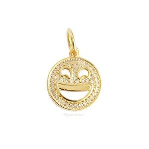 Pingente Fun Smile Cravejado Piscando Ouro