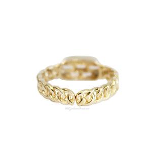 Anel Prata 925 Gold Chain Baguetes Regulável
