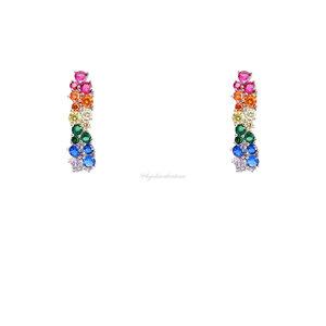 Brinco PRATA 925 Ear Hook Rainbow