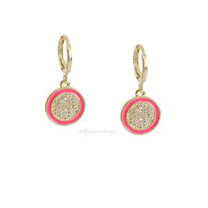 Argolinha Esmaltada Circulo - Pink
