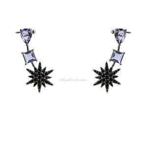Brinco Ear Cuff Negro Estrelas e Tanzanitas