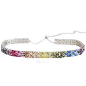 Choker Glam Baguetes Rainbow Ródio Ajustável